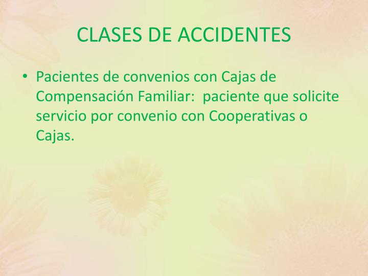CLASES DE ACCIDENTES