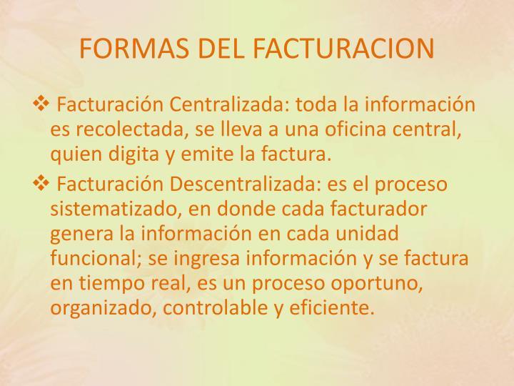 FORMAS DEL FACTURACION