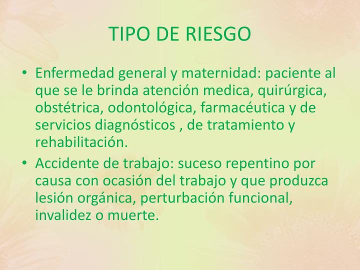 TIPO DE RIESGO