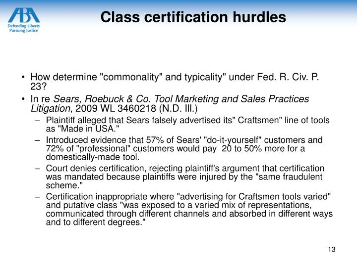 Class certification hurdles