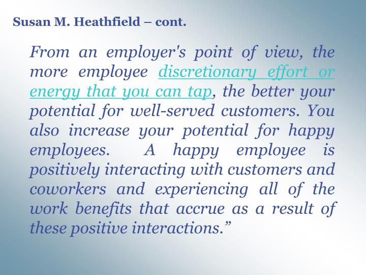 Susan M. Heathfield – cont.