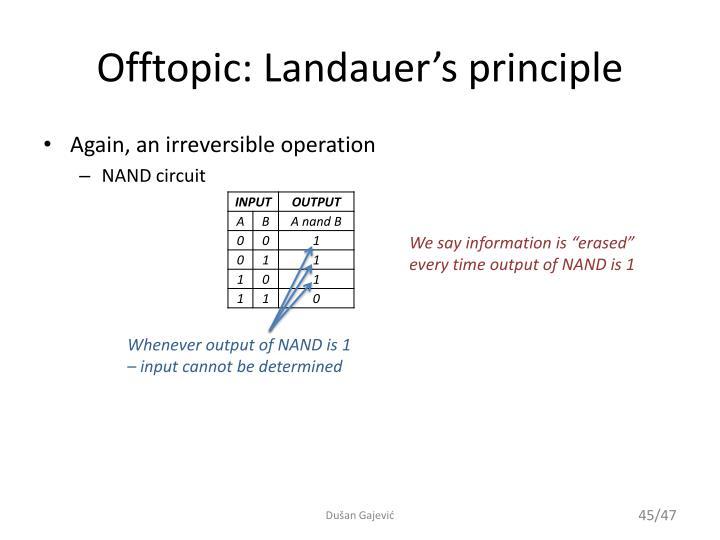 Offtopic: Landauer's principle