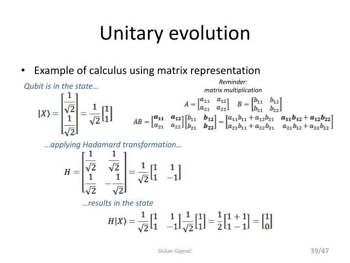 Unitary evolution