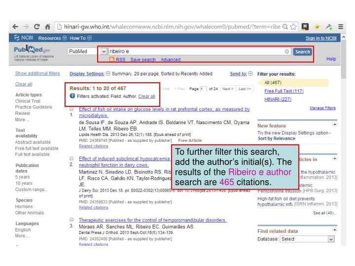 To further filter this search, add the author's initial(s). The results of the