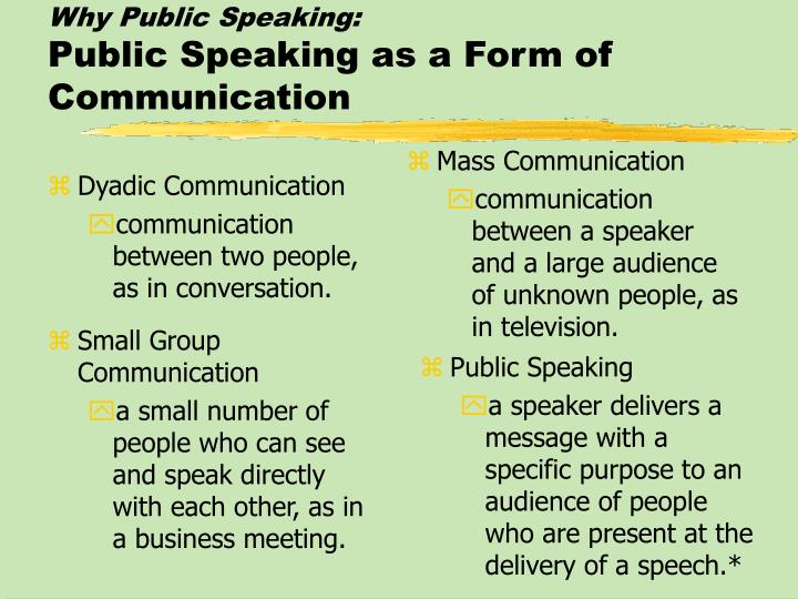 Why Public Speaking: