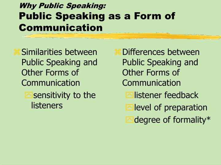Similarities between Public Speaking and Other Forms of Communication