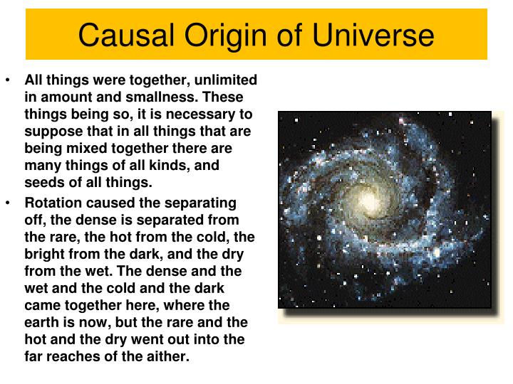 Causal Origin of Universe