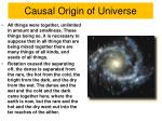 causal origin of universe