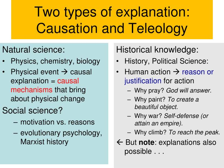 Two types of explanation: Causation and Teleology