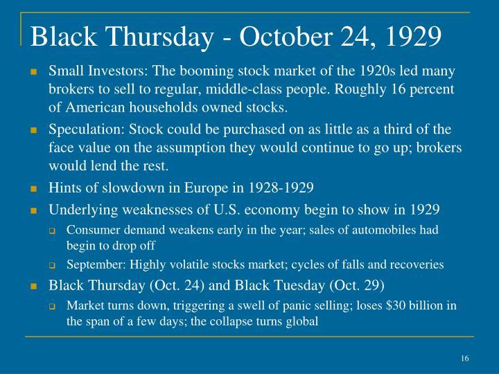 Black Thursday - October 24, 1929