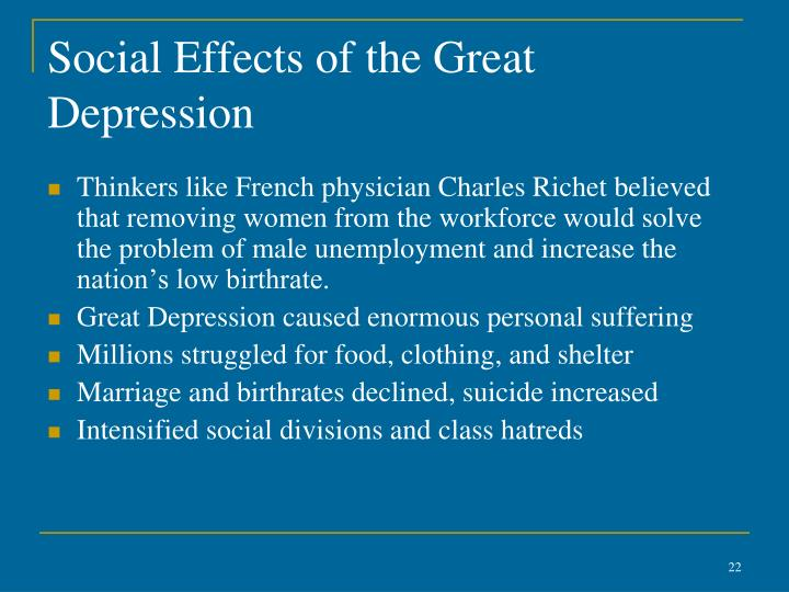 Social Effects of the Great Depression