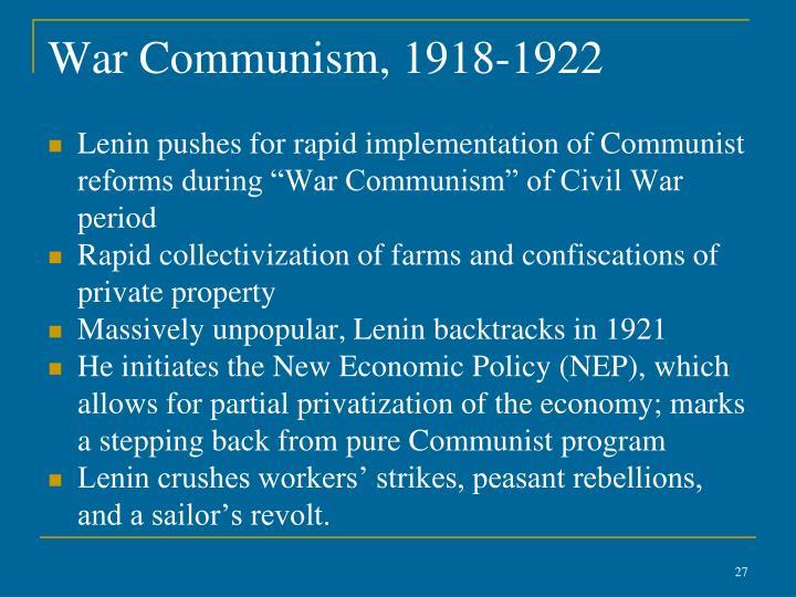 War Communism, 1918-1922