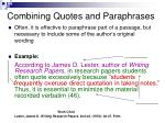 combining quotes and paraphrases