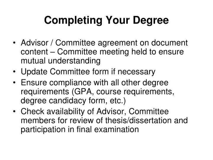 Completing Your Degree
