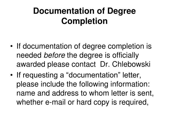Documentation of Degree Completion