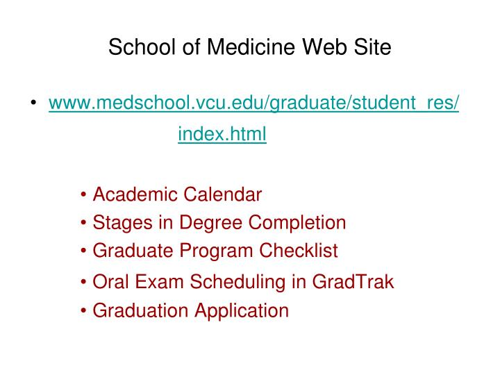 School of medicine web site