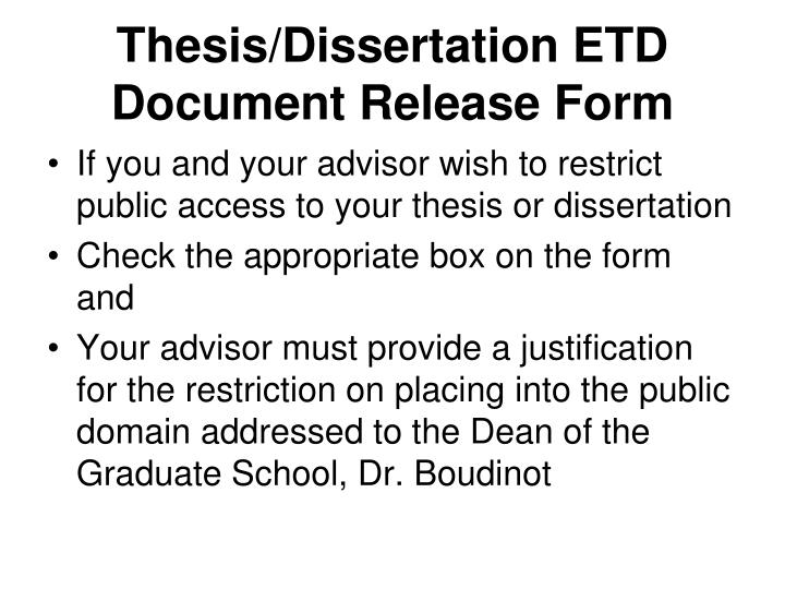 Thesis/Dissertation ETD Document Release Form
