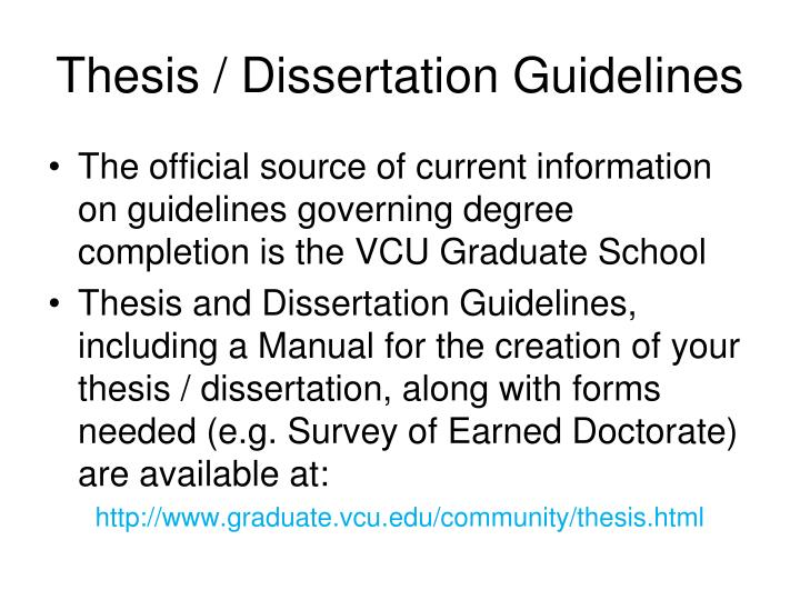 Thesis / Dissertation Guidelines