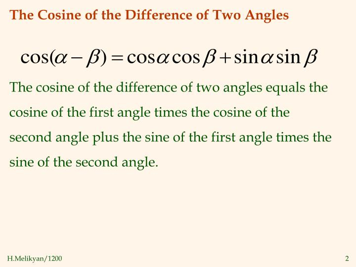 The cosine of the difference of two angles