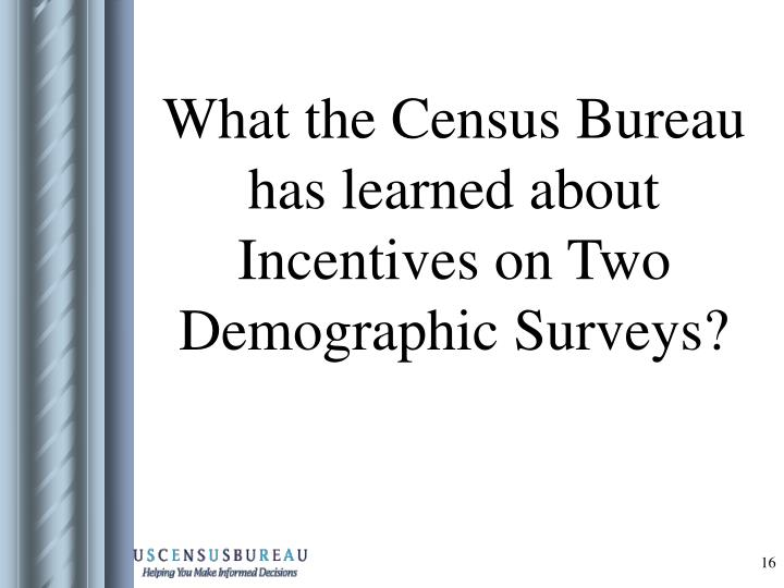 What the Census Bureau has learned about Incentives on Two  Demographic Surveys?