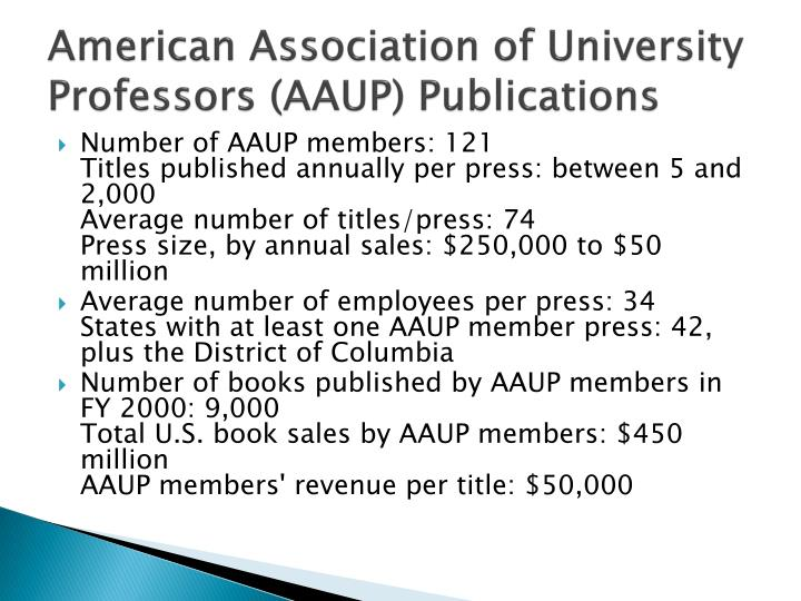 American Association of University Professors (AAUP) Publications