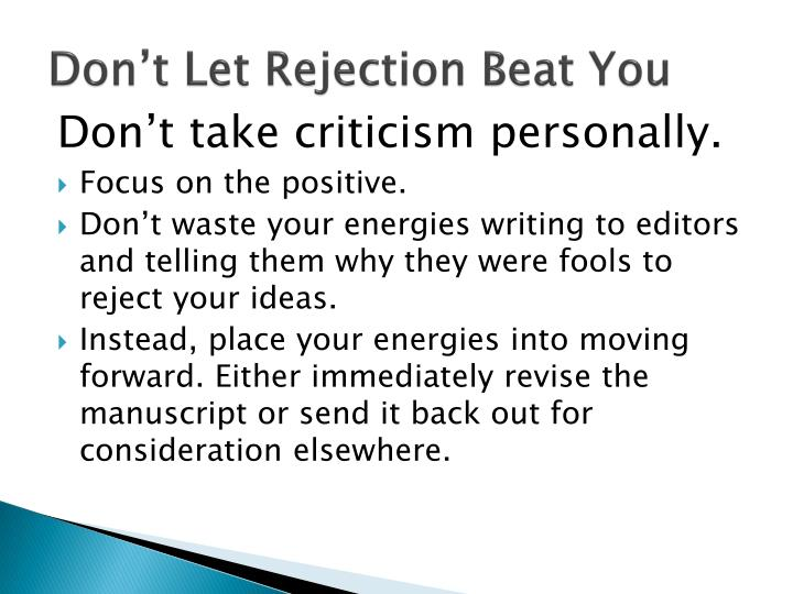 Don't Let Rejection Beat You