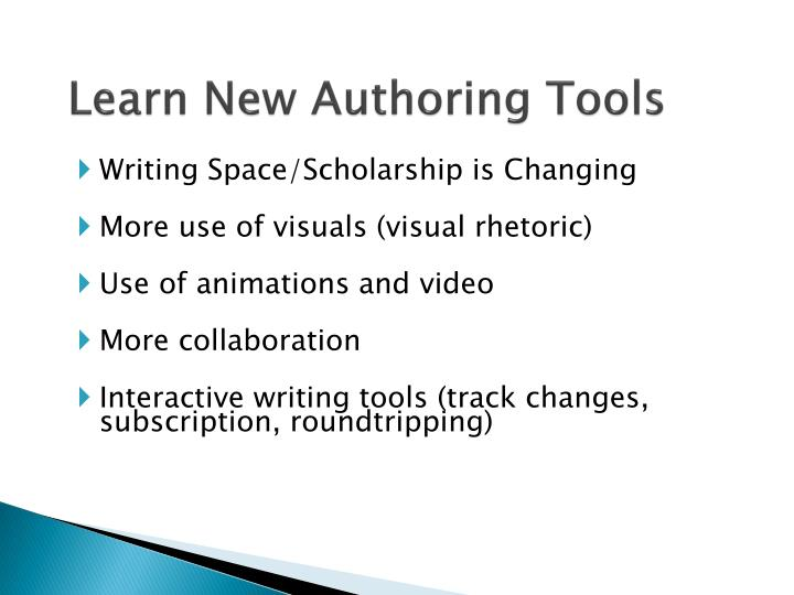 Learn New Authoring Tools
