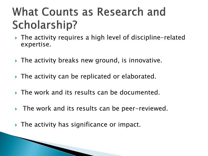 What Counts as Research and Scholarship?