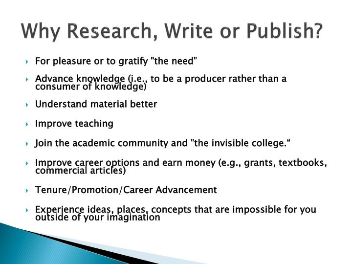 Why Research, Write or Publish?