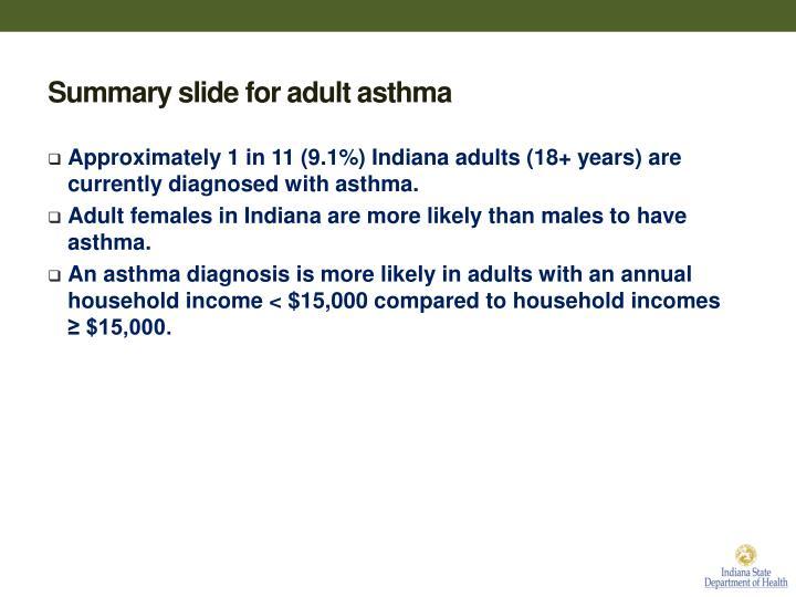 Summary slide for adult asthma