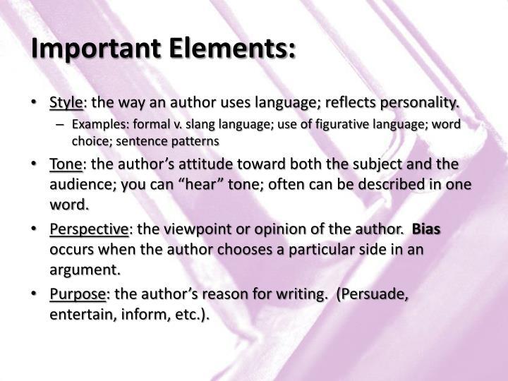 Important Elements: