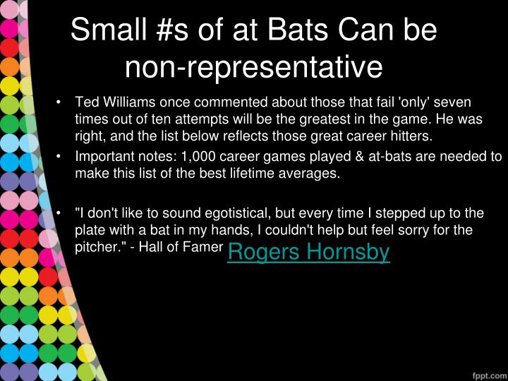 Small #s of at Bats Can be