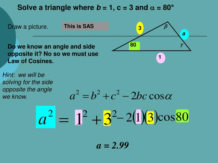 Solve a triangle where