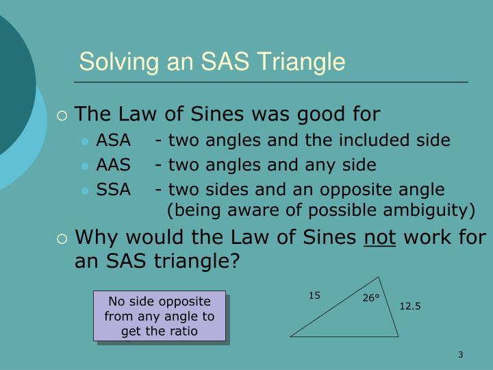 Solving an sas triangle