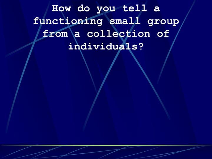 How do you tell a functioning small group from a collection of individuals?