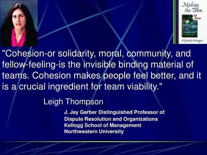 """Cohesion-or solidarity, moral, community, and fellow-feeling-is the invisible binding material of teams. Cohesion makes people feel better, and it is a crucial ingredient for team viability."""