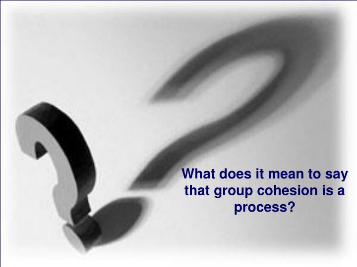 What does it mean to say that group cohesion is a process?