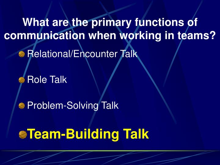 What are the primary functions of communication when working in teams?