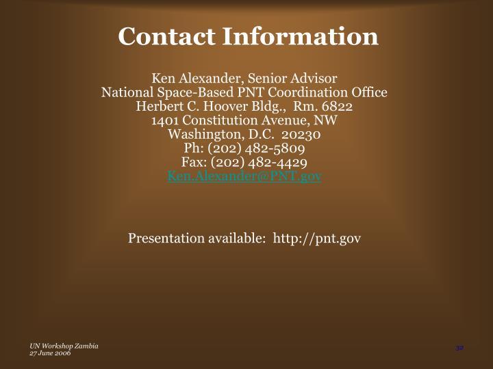 Ken Alexander, Senior Advisor