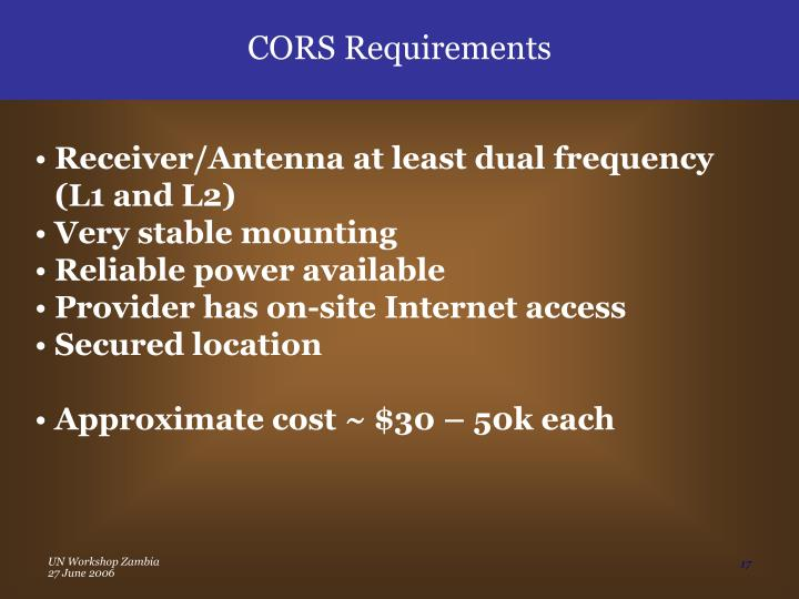 CORS Requirements