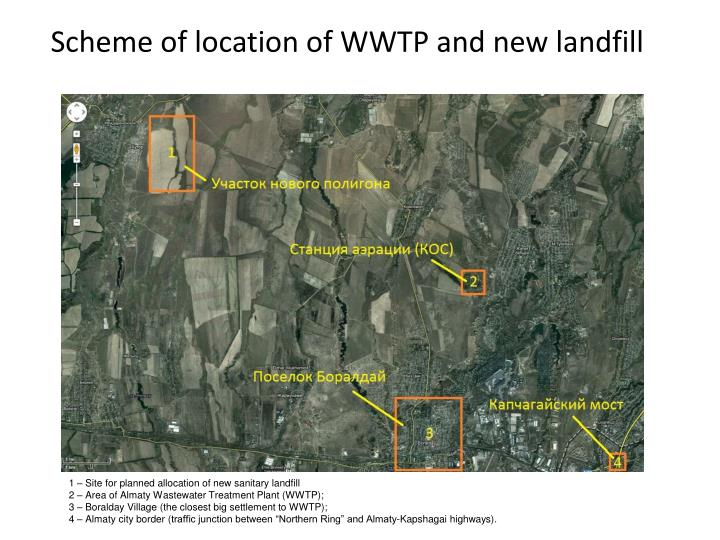 Scheme of location of WWTP and new landfill