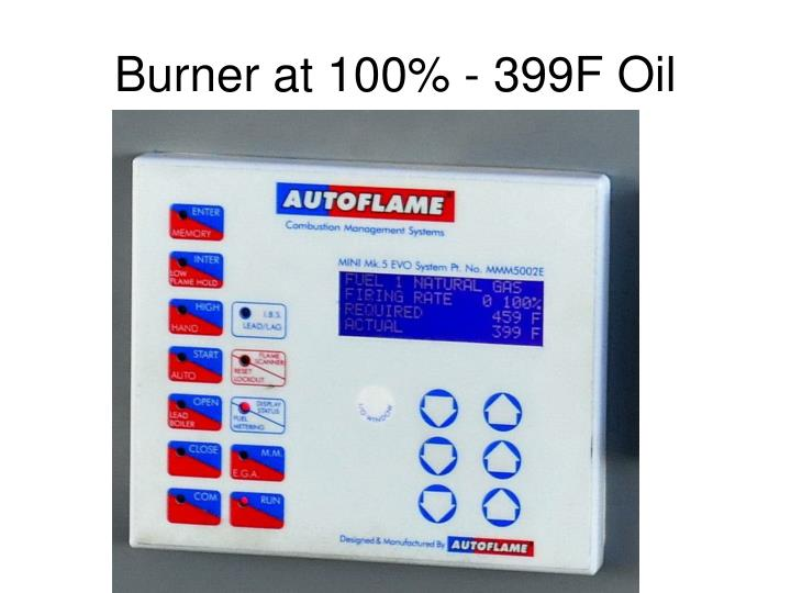 Burner at 100% - 399F Oil
