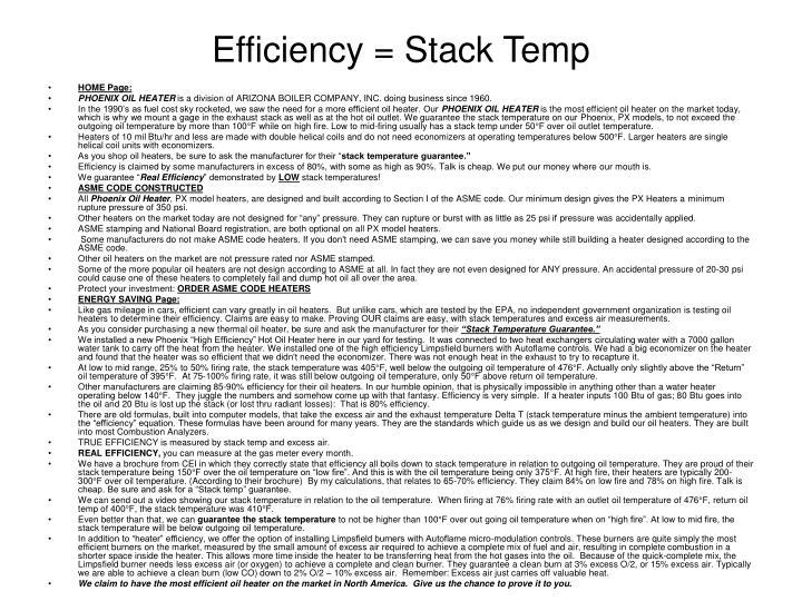 Efficiency = Stack Temp