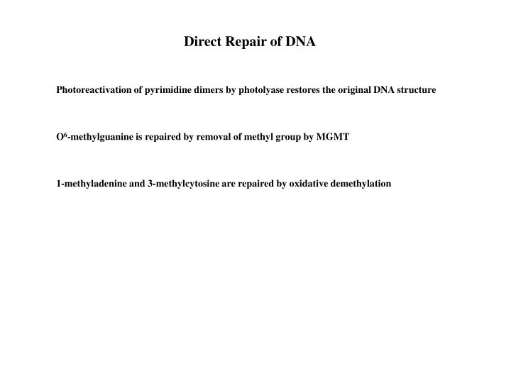 Direct Repair of DNA