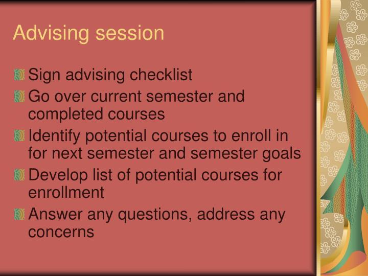 Advising session