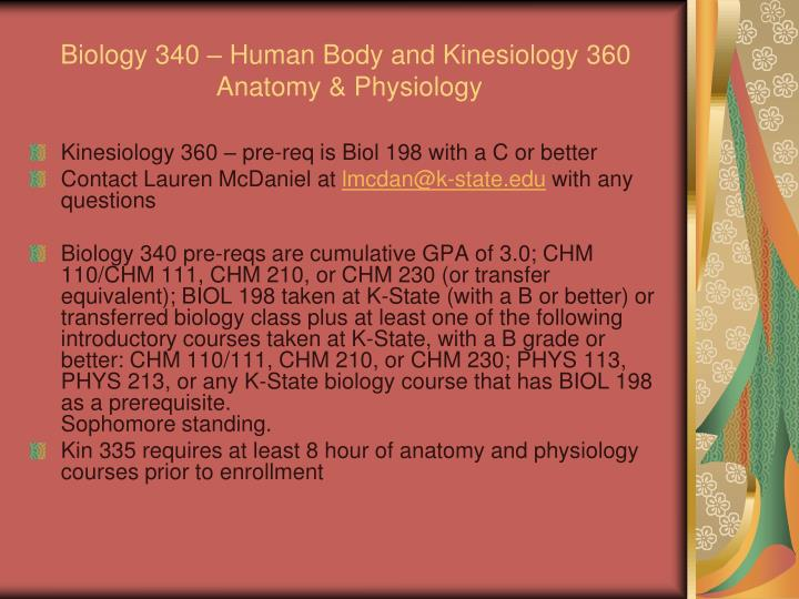 Biology 340 – Human Body and Kinesiology 360