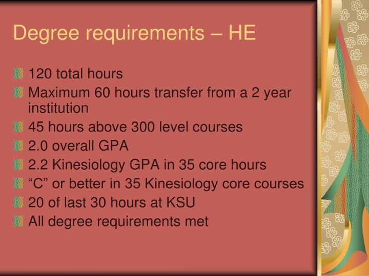 Degree requirements – HE