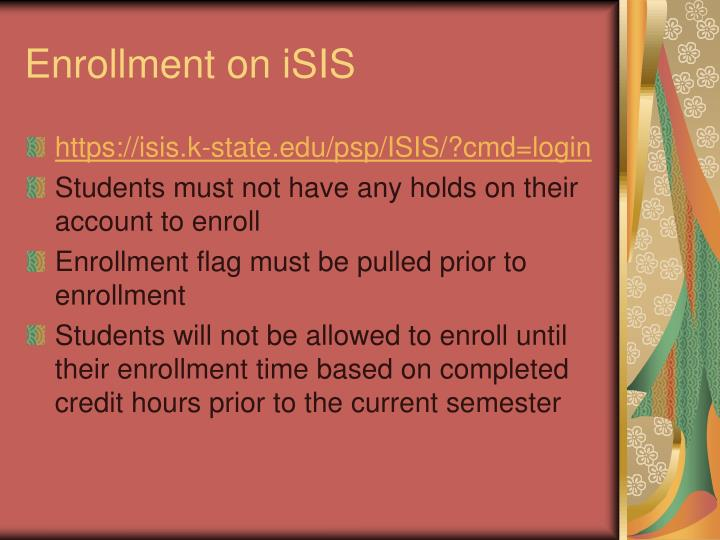 Enrollment on iSIS