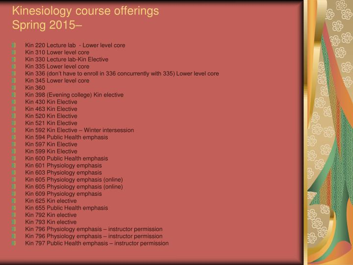 Kinesiology course offerings