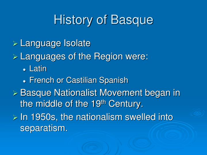 History of Basque
